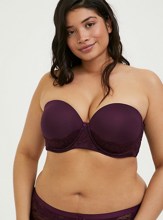 Grape Purple Microfiber & Lace Push-Up Multiway Strapless Bra, , hi-res