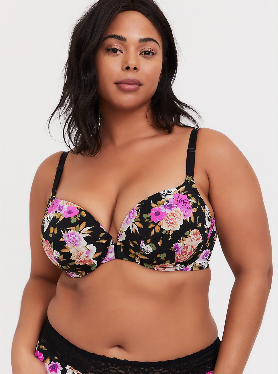 Black Skull Floral Front Clasp 360° Back Smoothing™ Lightly Lined T-Shirt Bra, , fitModel1-hires