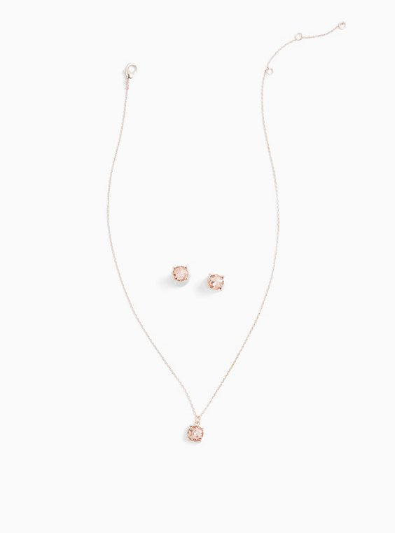 Rose Gold-Tone Light Pink Stud Earring & Necklace Set, , hi-res