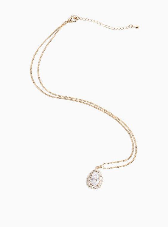 Gold-Tone Bezel Teardrop Pendant Necklace, , hi-res