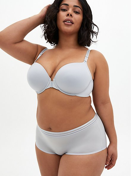Light Grey Front Clasp 360° Back Smoothing™ Lightly Lined T-Shirt Bra, GREY SKIES, alternate
