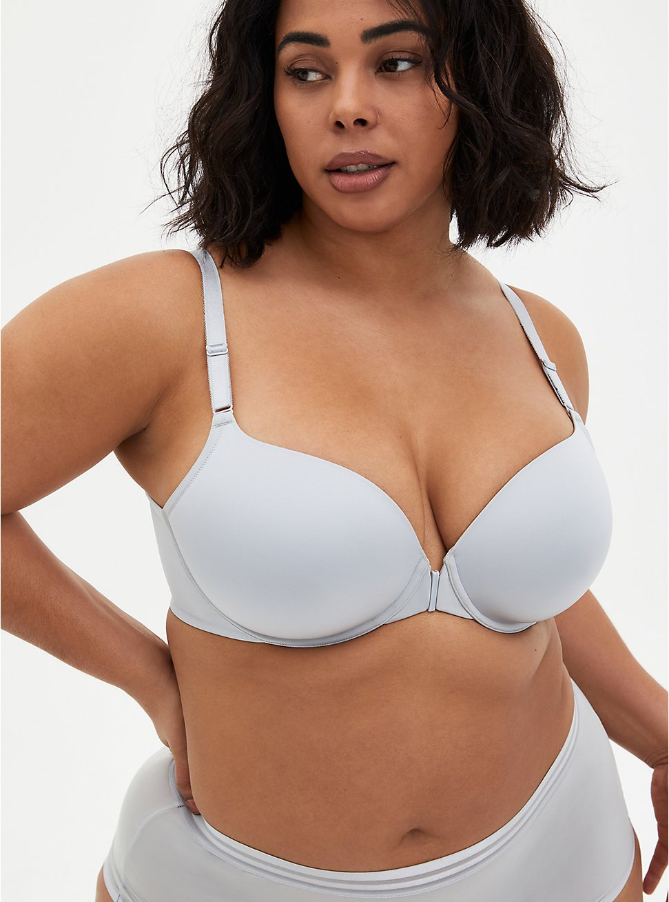 Light Grey Front Clasp 360° Back Smoothing™ Lightly Lined T-Shirt Bra, , fitModel1-hires