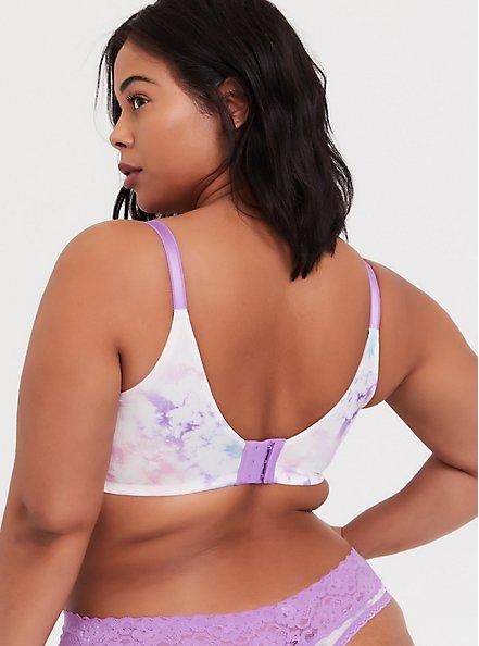Plus Size Pink & Purple Tie-Dye 360° Back Smoothing™ T-Shirt Bra, NICE DYE, alternate