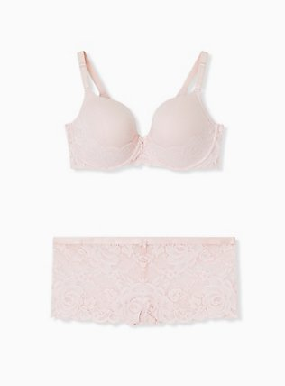 Pink Lace 360° Back Smoothing™ Lightly Lined T-Shirt Bra and Cheeky Panty, , hi-res