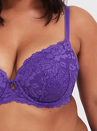 Purple Lace Lightly Lined T-Shirt Bra, CRYSTAL BALL PURPLE, alternate