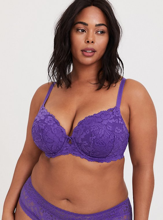 Plus Size Purple Lace Lightly Lined T-Shirt Bra, , hi-res