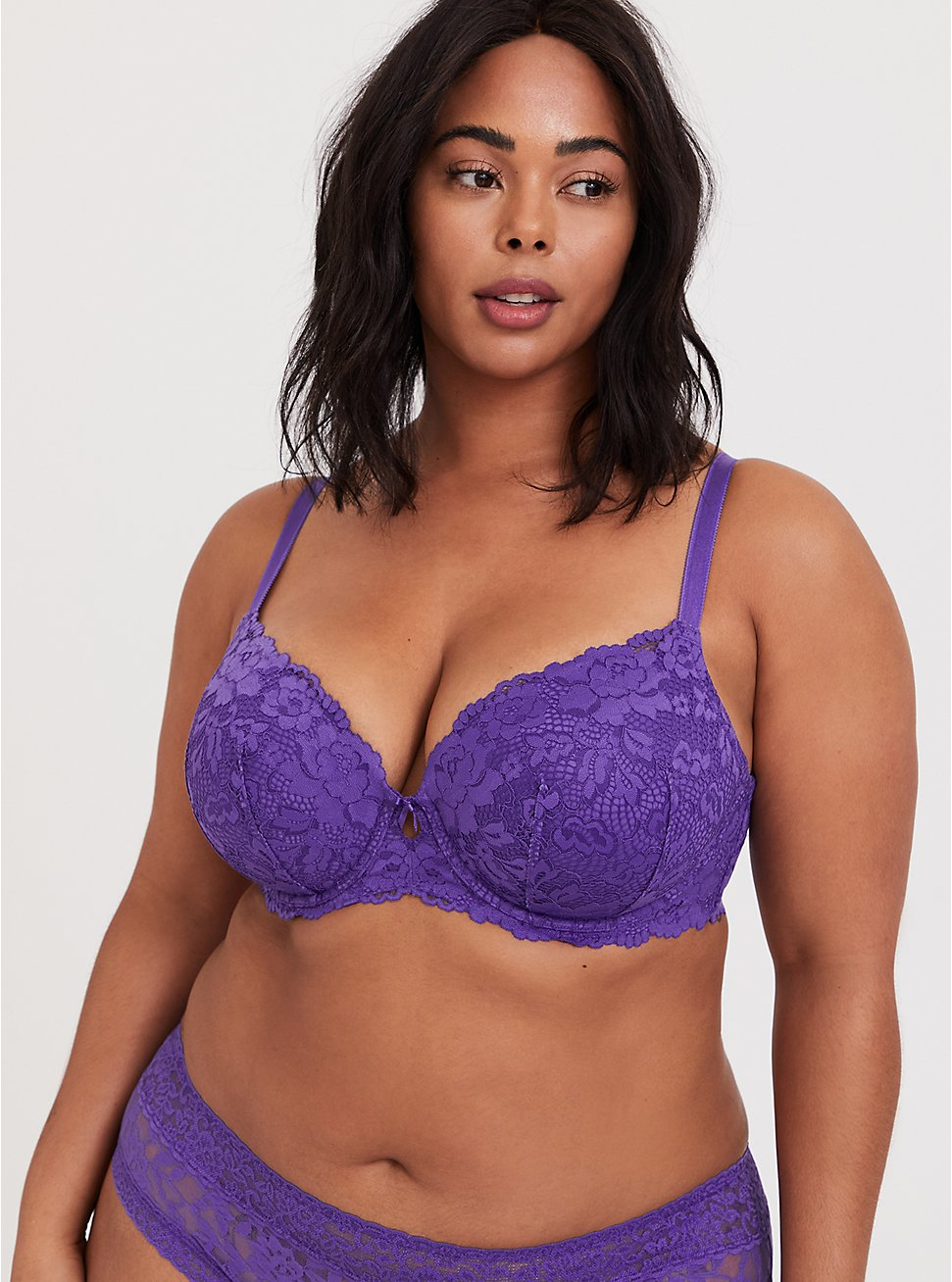 Plus Size Purple Lace Lightly Lined T-Shirt Bra, CRYSTAL BALL PURPLE, hi-res