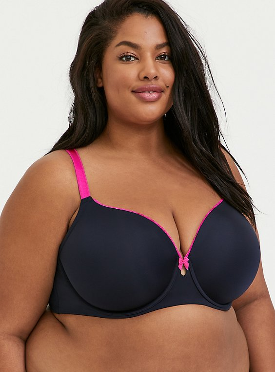 Plus Size Midnight Blue & Neon Pink Microfiber Lightly Lined T-Shirt Bra , , hi-res