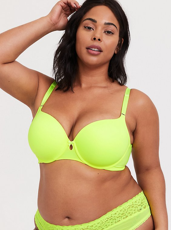 Plus Size Neon Yellow 360° Back Smoothing™ Lightly Lined T-Shirt Bra, , hi-res