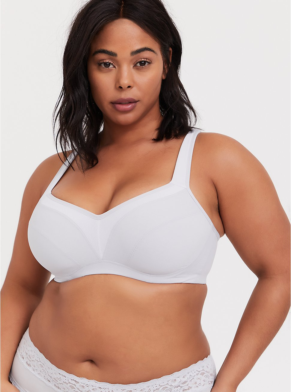 Light Grey Microfiber Lightly Lined Underwire Sports Bra, , fitModel1-hires