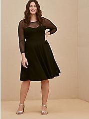 Black Premium Ponte & Mesh Illusion Neck Above-the-Knee Dress, DEEP BLACK, hi-res