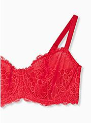 Plus Size Red Lace Unlined Balconette Bra , TANGO RED, alternate