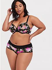 Plus Size Black Skull Floral Wide Lace Shine Cheeky Panty, SKULL FLORAL, alternate
