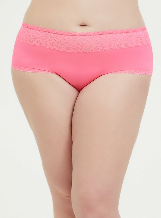 Neon Pink Wide Lace Shine Cheeky Panty, , hi-res