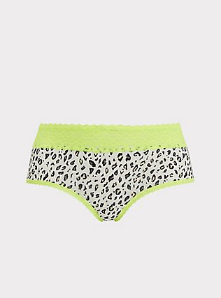 White Leopard & Neon Yellow Wide Lace Shine Cheeky Panty, NEON LEOPARD, flat