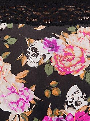 Black Skull Floral Wide Lace Shine Hipster Panty, SKULL FLORAL, alternate
