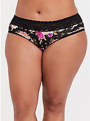 Black Skull Floral Wide Lace Shine Hipster Panty, SKULL FLORAL, hi-res