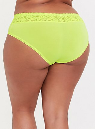 Plus Size Neon Yellow Wide Lace Shine Hipster Panty, , alternate