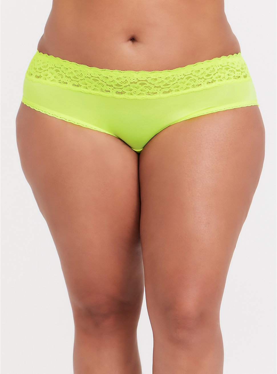 Neon Yellow Wide Lace Shine Hipster Panty, , hi-res