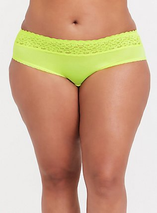 Plus Size Neon Yellow Wide Lace Shine Hipster Panty, , hi-res