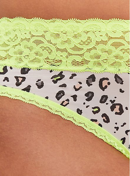 Plus Size White Leopard & Neon Yellow Wide Lace Shine Thong Panty, NEON LEOPARD, alternate