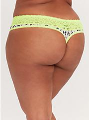 White Leopard & Neon Yellow Wide Lace Shine Thong Panty, NEON LEOPARD, alternate