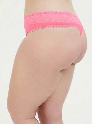 Neon Pink Wide Lace Shine Thong Panty, FLUORESCENT PINK, alternate