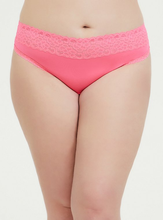 Plus Size Neon Pink Wide Lace Shine Thong Panty, , hi-res
