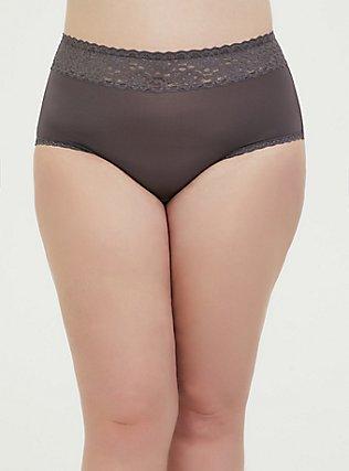 Slate Grey Wide Lace Microfiber Shine Brief Panty, RABBIT GREY, alternate