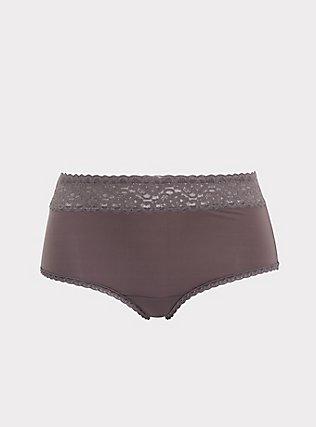 Slate Grey Wide Lace Microfiber Shine Brief Panty, RABBIT GREY, flat