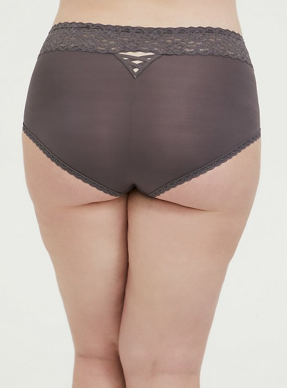 Plus Size Slate Grey Wide Lace Microfiber Shine Brief Panty, RABBIT GREY, hi-res