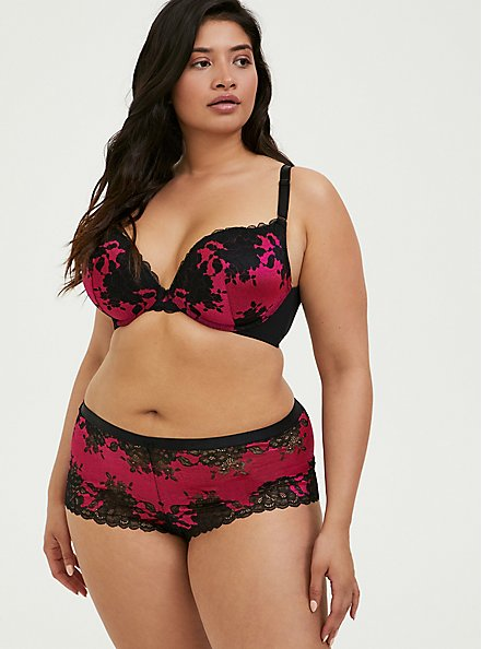 Plus Size Hot Pink & Black Lace Lattice Cheeky Panty, SUPERSONIC, alternate