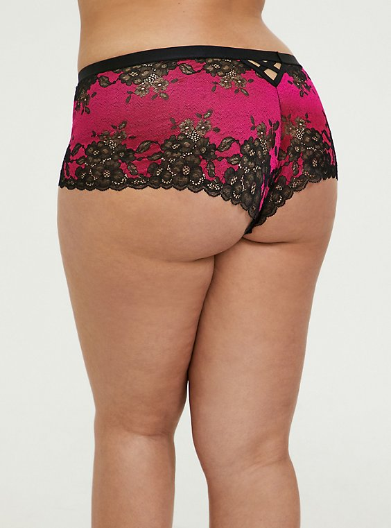 Plus Size Hot Pink & Black Lace Lattice Cheeky Panty, , hi-res