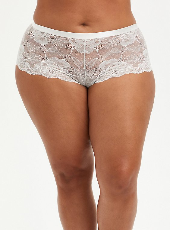 Plus Size Ivory Lace Lattice Cheeky Panty, , hi-res
