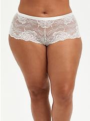 Ivory Lace Lattice Cheeky Panty, CLOUD DANCER, hi-res