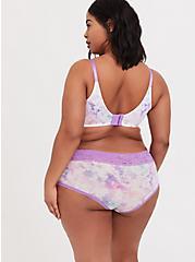 Plus Size Pink & Purple Tie Dye Wide Lace Shine Cheeky Panty, NICE DYE, alternate