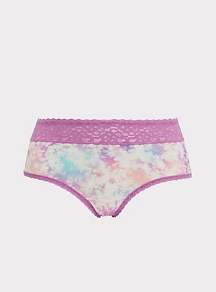 Pink & Purple Tie Dye Wide Lace Shine Cheeky Panty, NICE DYE, flat