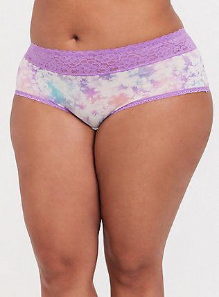 Pink & Purple Tie Dye Wide Lace Shine Cheeky Panty, NICE DYE, hi-res