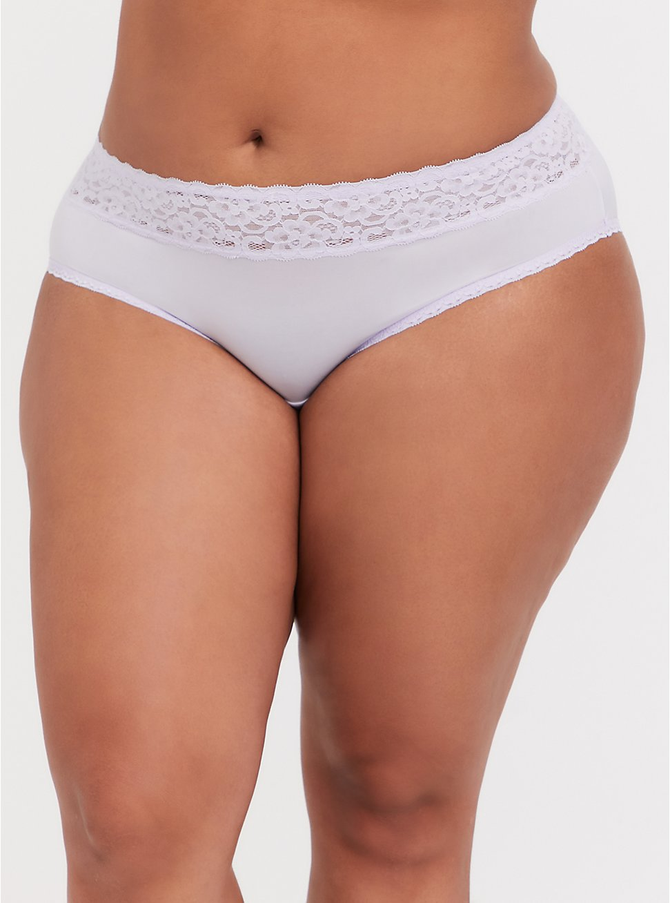 Lilac Purple Wide Lace Shine Hipster Panty, CLOUDED OPAL LAVENDER, hi-res