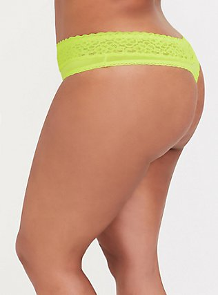 Plus Size Neon Yellow Wide Lace Shine Thong Panty, , alternate
