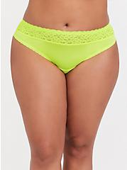 Plus Size Neon Yellow Wide Lace Shine Thong Panty, , hi-res