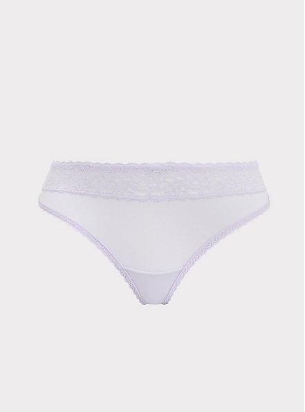 Lilac Purple Wide Lace Shine Thong Panty, CLOUDED OPAL LAVENDER, hi-res
