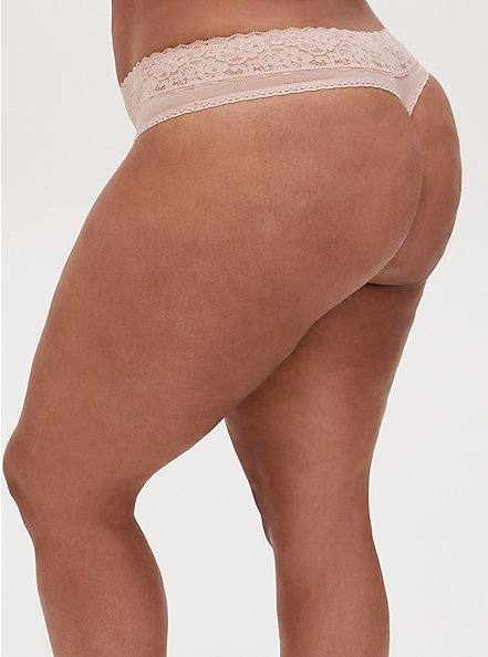 Beige Wide Lace Shine Thong Panty, ROSE DUST, alternate