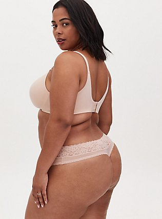 Plus Size Nude Wide Lace Shine Thong Panty, ROSE DUST, alternate