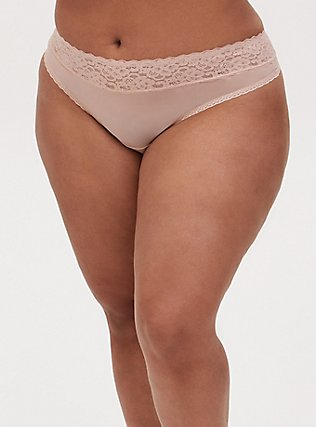 Plus Size Nude Wide Lace Shine Thong Panty, ROSE DUST, hi-res