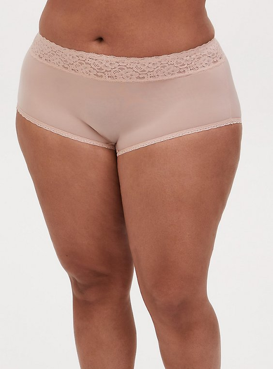 Nude Wide Lace Shine Brief Panty, , hi-res