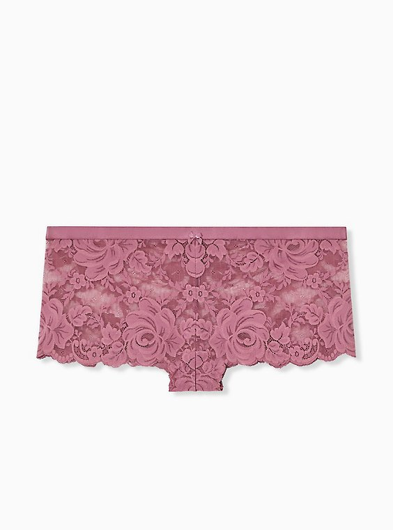 Plus Size Mauve Purple Lace Cheeky Panty, , hi-res