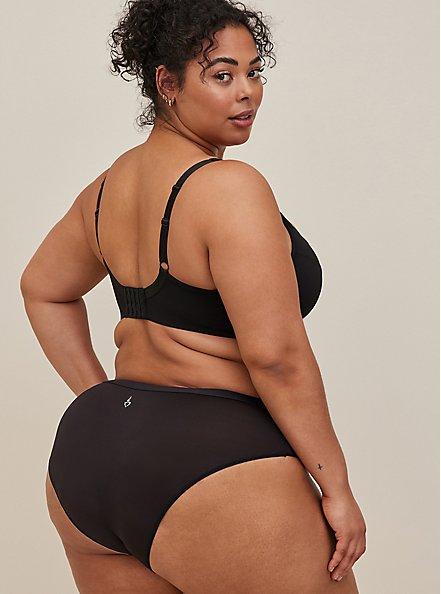 Torrid Logo Black Microfiber Active Hipster Panty, RICH BLACK, alternate