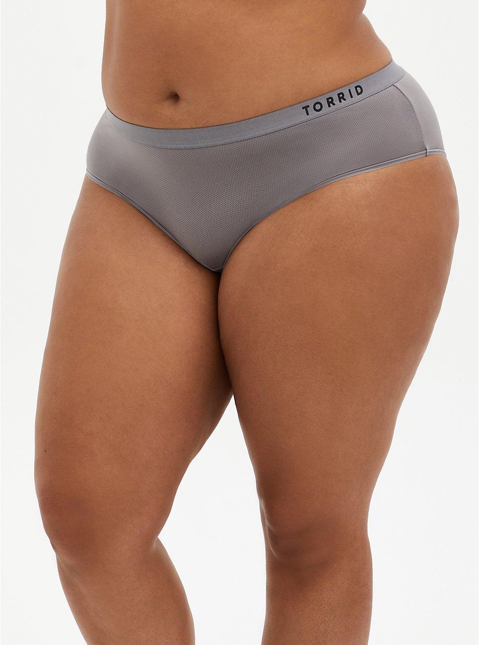 Torrid Logo Grey Microfiber Active Hipster Panty, SILVER FILAGREE, hi-res