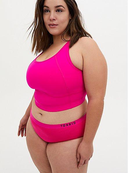Torrid Logo Neon Pink Microfiber Active Hipster Panty, SUPERSONIC, alternate